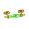 Skleněná úchytka na šuplík, kovové zdobení, zelená, 14x5cm