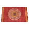 Sárong červený, Mandala paví peří, 110x170cm, s ručním tiskem