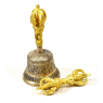 Tibetský zvon a dorje, mosazná barva, ornament, 15cm