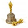 Tibetský zvon a dorje, mosazná barva, ornament, 16cm