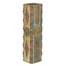 Dřevěný svícen ze starého teakového sloupu, 17x17x69cm