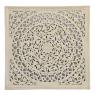 Ručně vyřezávaná mandala z mangového dřeva, bílá patina, 150x5x150cm