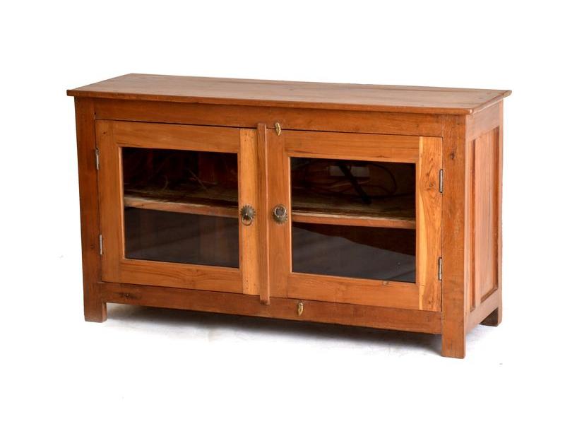 Komoda antik teakového dřeva, prosklená dvířka, 107x36x60cm