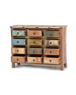 "Komoda z antik teakového dřeva, ""GOA"" styl, 115x40x90cm"