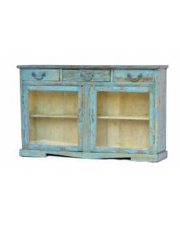 Prosklená skříňka z antik teaku, tyrkysová patina, 109x21x67cm
