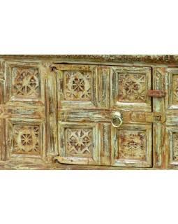 Komoda z antik teakového dřeva, zelená patina, 98x38x60cm