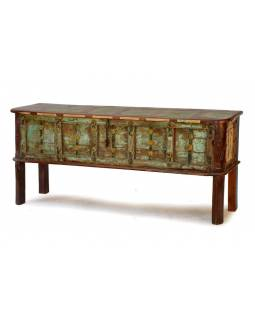 Truhla z teakového dřeva, železné kování, 188x44x77cm