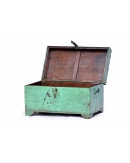 Truhlička z teakového dřeva, zelená patina, 60x33x33cm