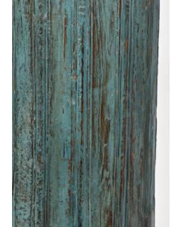 Svícen, antik sloup, teak, modrý, 19x19x55cm