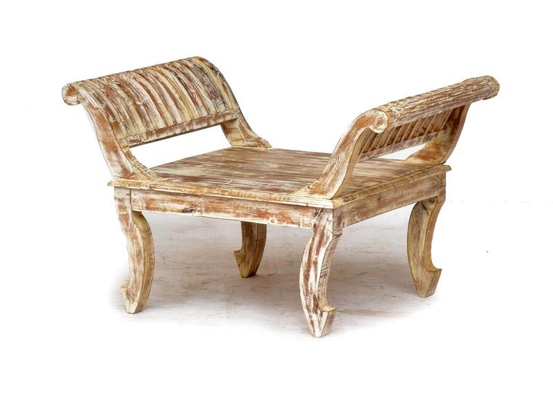 Sedátko z antikteakového dřeva, bílá patina, 80x53x52cm