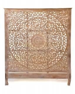 Ručně vyřezaná mandala z teakového dřeva, bílá patina, 198x228x10cm