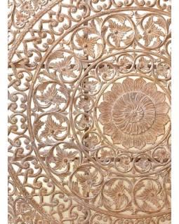 Ručně vyřezaná mandala z mangového dřeva, bílá patina, 198x228x10cm