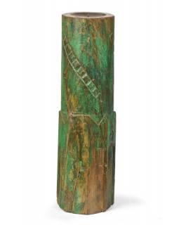 Svícen, antik sloup, teak, zelený, 15x15x55cm