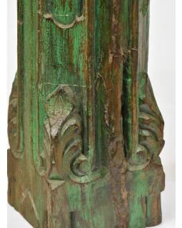 Svícen, antik sloup, teak, zelený, 16x16x55cm