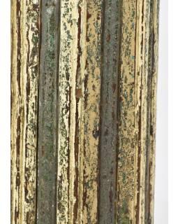 Svícen, antik sloup, teak, modro-bílý, 20x20x56cm