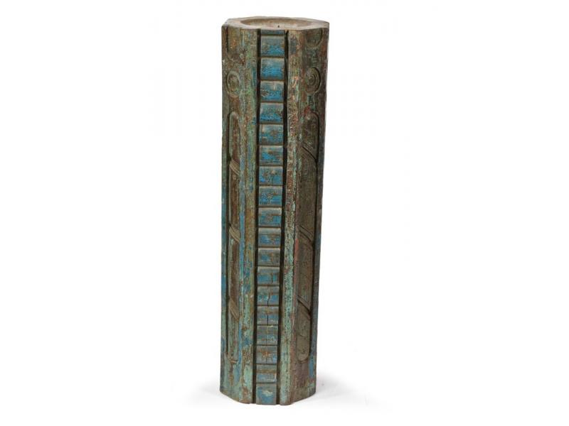 Svícen, antik sloup, teak, modrý, 17x17x54cm