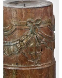 Svícen, antik sloup, teak, zelený, 16x16x54cm