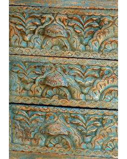 Komoda z antik teakového dřeva, ručně řezané šuplíky, 120x45x76cm
