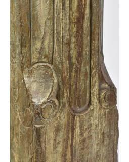 Svícen, antik sloup, teak, zelený, 18x18x55cm
