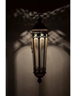 Prosklená lampa v orientálním stylu, ruční práce, cca 20x75cm