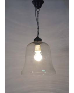 Skleněná závěsná lampa, čiré sklo, 25x27cm