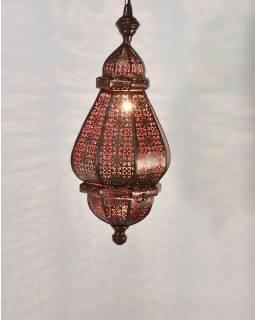 Mosazná lampa v orientálním stylu, měděná uvnitř červená barva, 22x46cm