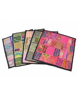 Povlak na polštář z Rajastanu, světle růžový patchwork, ruční práce, 40x40cm
