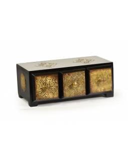 Dřevěná skříňka s mosazným kováním, 3 šuplíky, 25x13x10cm