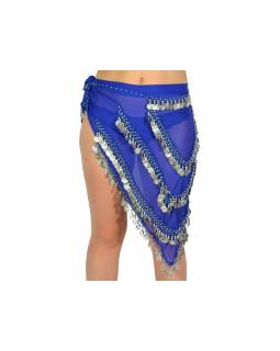 Šátek, trojůhelník malý, penízky - středně modrý se stříb