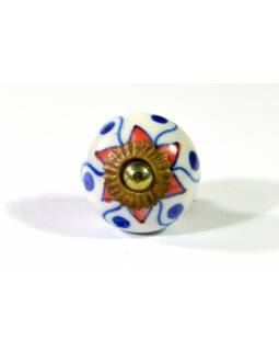 Malované keramické madlo na šuplík, bílé, oranžovomodrá květina