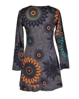 Šedé šaty s dlouhým rukávem, Flower Mandala potisk