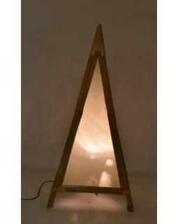 Stojací lampa/stínidlo z bambusu a látky, 45x45x100cm