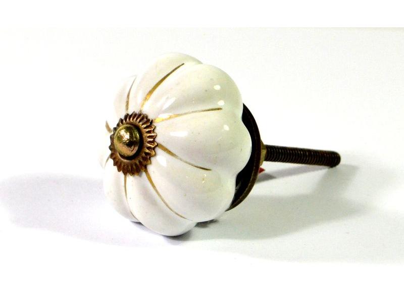 Porcelánové madlo na šuplík, bílé se zlatou konturou, prům. 5cm