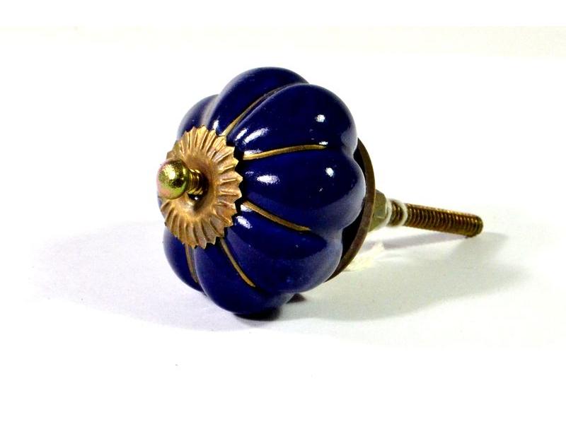 Porcelánové madlo na šuplík, modré se zlatou konturou, prům. 5cm