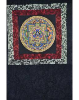 Tanka, Mandala, uprostřed Om, černý brokát, 49x65cm