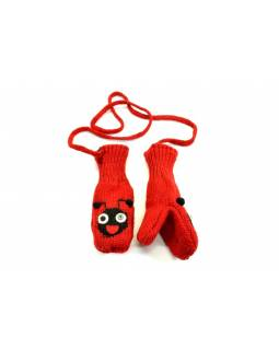 Zvířátkové vlněné rukavice - palčáky beruška