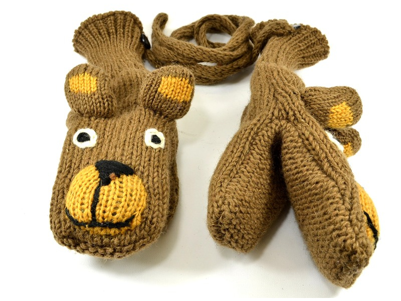 Zvířátkové vlněné rukavice - palčáky medvěd