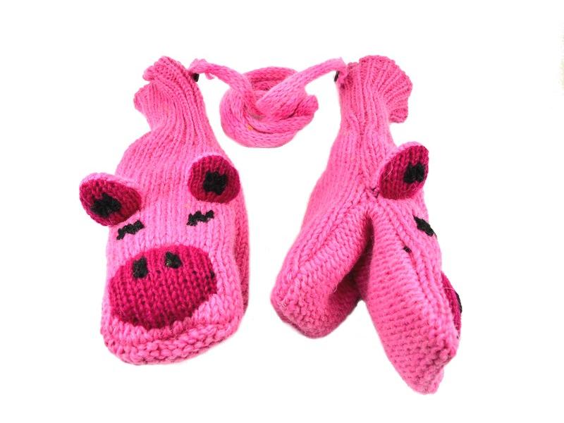 Zvířátkové vlněné rukavice - palčáky prasátko