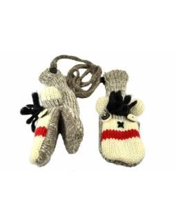 Zvířátkové vlněné rukavice - palčáky opice