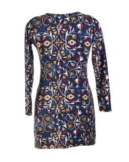 Krátké černo-modré šaty s dlouhým rukávem a designem leaves
