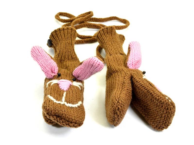 Zvířátkové vlněné rukavice - palčáky zajíc