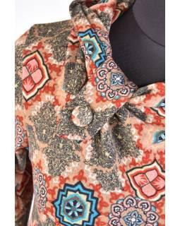 Khaki tričko s límcem a dlouhým rukávem, mandala design