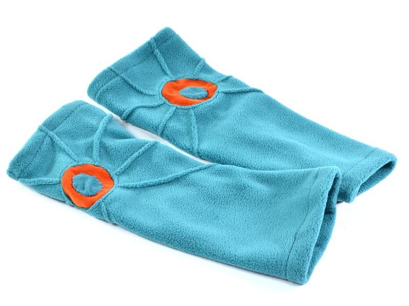 Tyrkysové fleecové rukavice - návleky s prošíváním