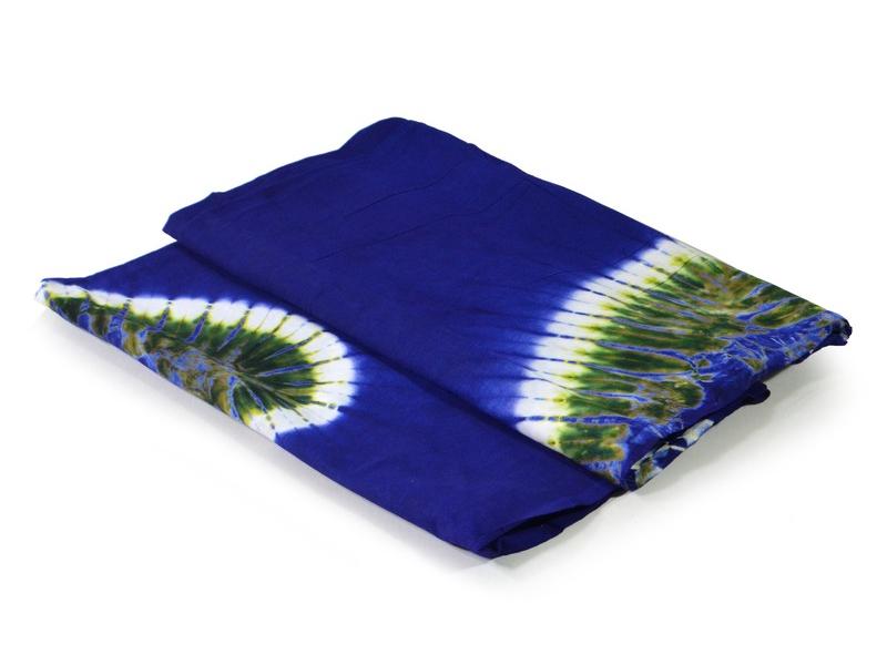 Modrý přehoz s multibarevnou batikou, 240x220cm