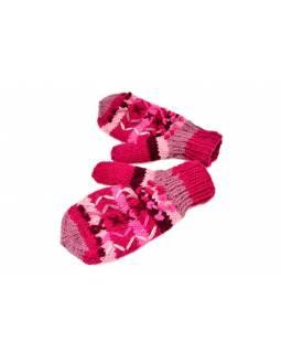 Rukavice, palčáky, vlna, bohatá výšivka, proužky, růžové