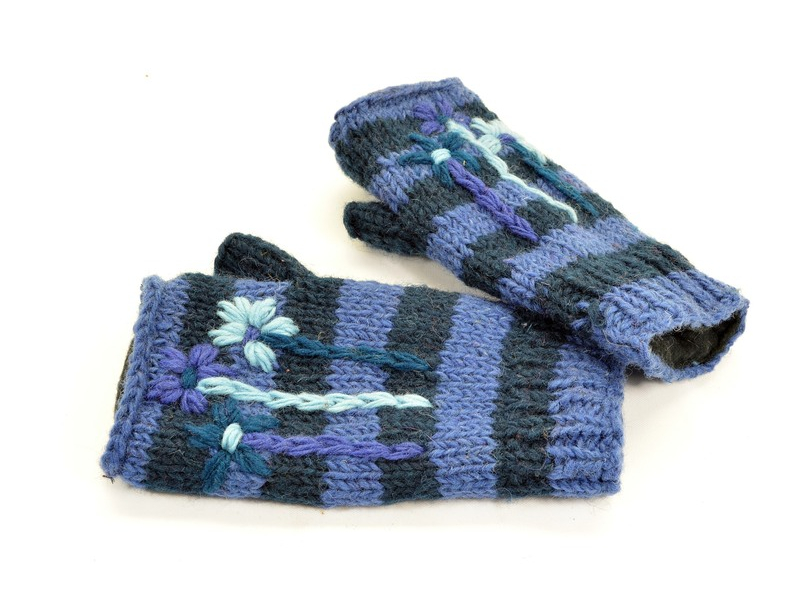 Rukavice-návleky, vlna, výšivka květy, proužky, modré