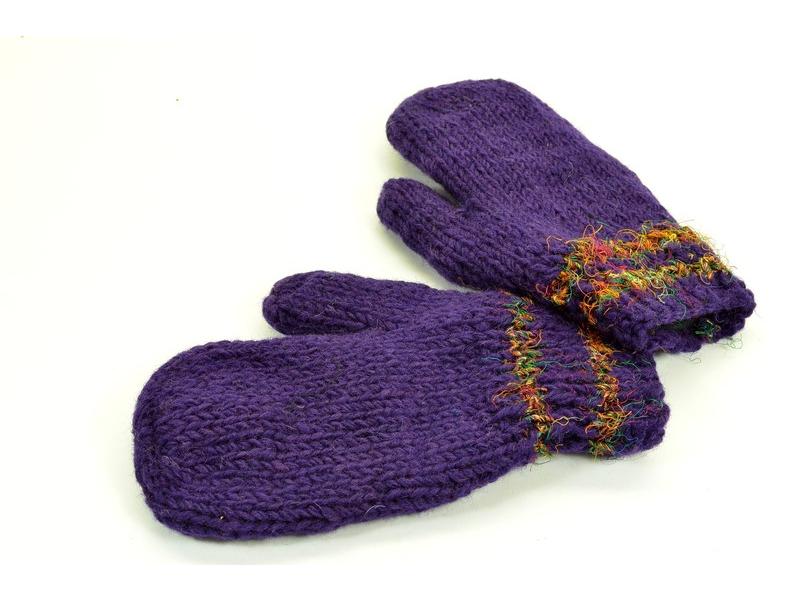 Rukavice-palčáky, hedvábný proužek, vlna, fialové