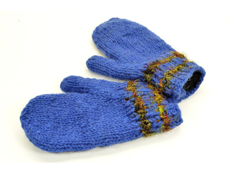 Rukavice-palčáky, hedvábný proužek, vlna, modré