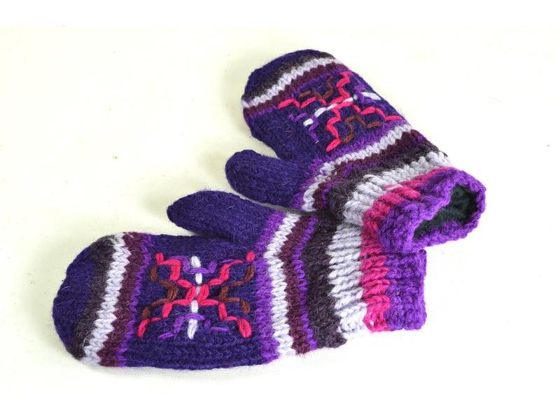 Rukavice-palčáky, fialové, výšivka, podšívka