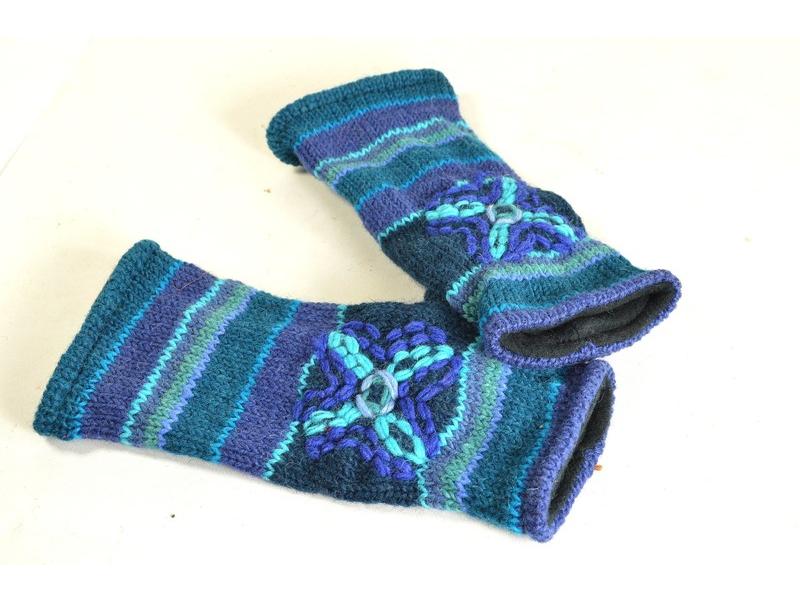 Rukavice-návleky, modré, výšivka, podšívka